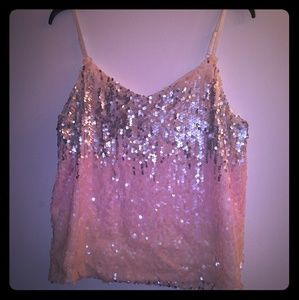 All sequin Ombre Top Dressy Pink Tank Large